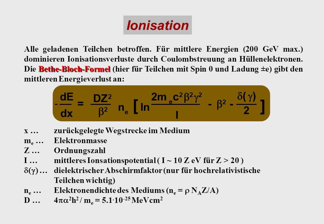 [ ] Ionisation dE DZ 2m c b g d ( ) dx = n ln I -